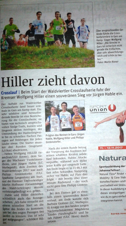 Crosslauf Gars-Zitternberg 4.11.17 *** 1.Lauf der Waldviertler Crosslaufserie 2017/18