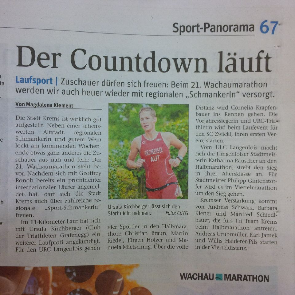 Wachau Marathon 2018 Ankündigung NÖN